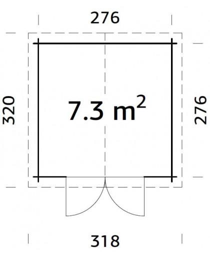 """Abri en bois """"Ralf"""" 7,3 m²"""