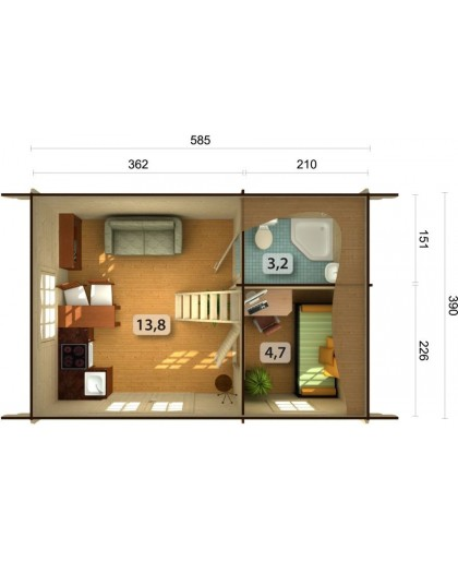 "Chalet de Loisirs ""Sandra"" 29,9 m²"