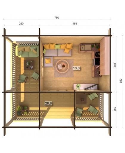"Chalet ""Agneta"" 18,8 + 28,8 m²"