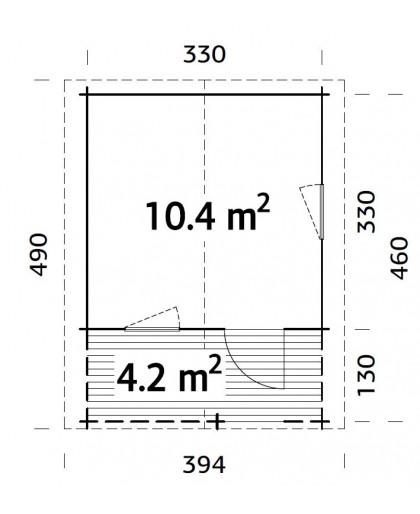 """Abri de Jardin """"Sylvi"""" 10,4 + 4,2 m²"""