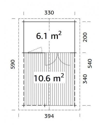 """Abri """"Sylvi"""" 6,1 + 10,6 m²"""