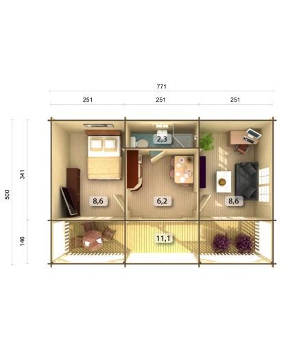 "Chalet de Loisirs ""Sandra"" 25,6 +11,1 m²"