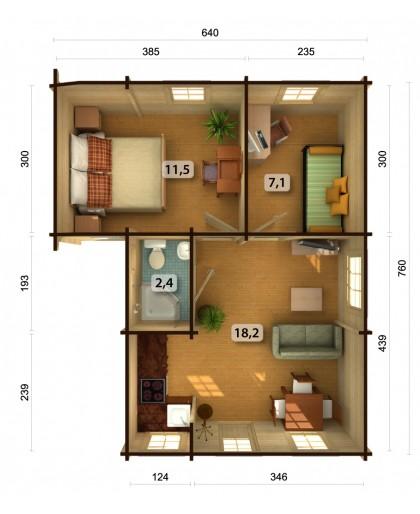 """Chalet de Loisirs """"Emily"""" 39,2 m²"""