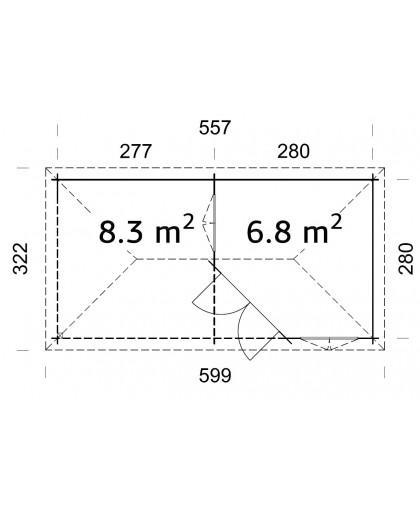 "Abri ""Mélanie"" 6,8 + 8,3 m²"