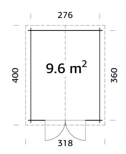 """Abri en bois """"Ralf"""" 9,6 m²"""